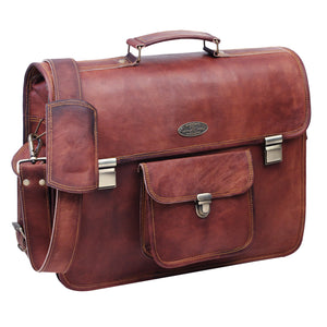 Genuine Full Brain Brown Leather Messenger Briefcase Bag with Push Lock