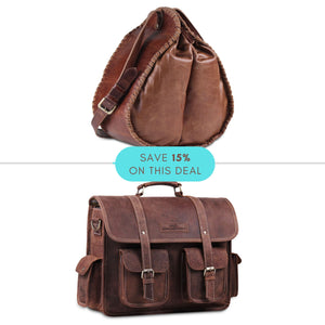 Value Pack- Genuine Leather Full Grain Brown Buffalo Leather Messenger Bag with Brown Bucket Bag