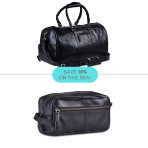 Value Pack - Genuine Full Grain Black Buffalo Leather Weekender Duffle Bag with Multi Utility Toiletry Bag