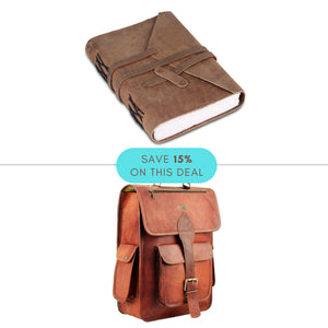 College Value Pack - Light Brown Journal Diary with Leather Backpack with Padded Strap