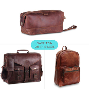 Value Pack Combo of Genuine Full Grain Leather Messenger Bag, Leather Backpack and Toiletry Bag