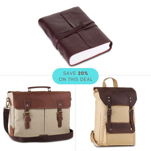 Value Pack- Leather Canvas Messenger and Backpack Bag with Vintage Brown Journal Notebook