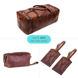 Value Pack - Genuine Leather Duffle Weekender Bag with Brown Toiletry Bag and Leather Luggage Tags