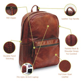 Features of Large Water Resistant Full Grain Brown Leather Backpack Laptop Bag with Top Handle and Padded Straps