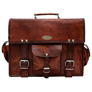 Front View of Leather Messenger Satchel bag with Top Handle and Side Pockets