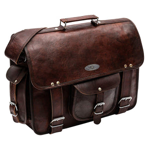 Full Grain Genuine Leather Vintage Messenger Bag With Top Handle and Adjustable Strap