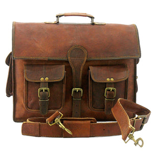 Genuine Leather Top Handle Brown Messenger Briefcase Bag with Adjustable Strap
