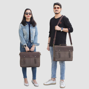 Models with Genuine Leather Canvas Dark Brown Messenger Bag with Adjustable Strap