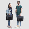 Models with Black Canvas Leather Messenger Bag with Shoulder Strap