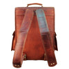 Posterior View of Leather Messenger Backpack Bag