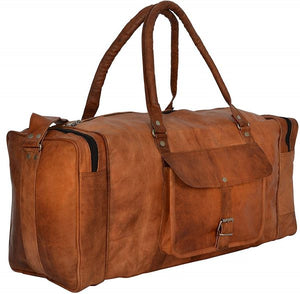 Genuine Leather Full Grain Brown Leather Weekender Duffle Bag