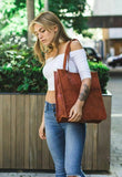 Model With Leather Women Tote Bag