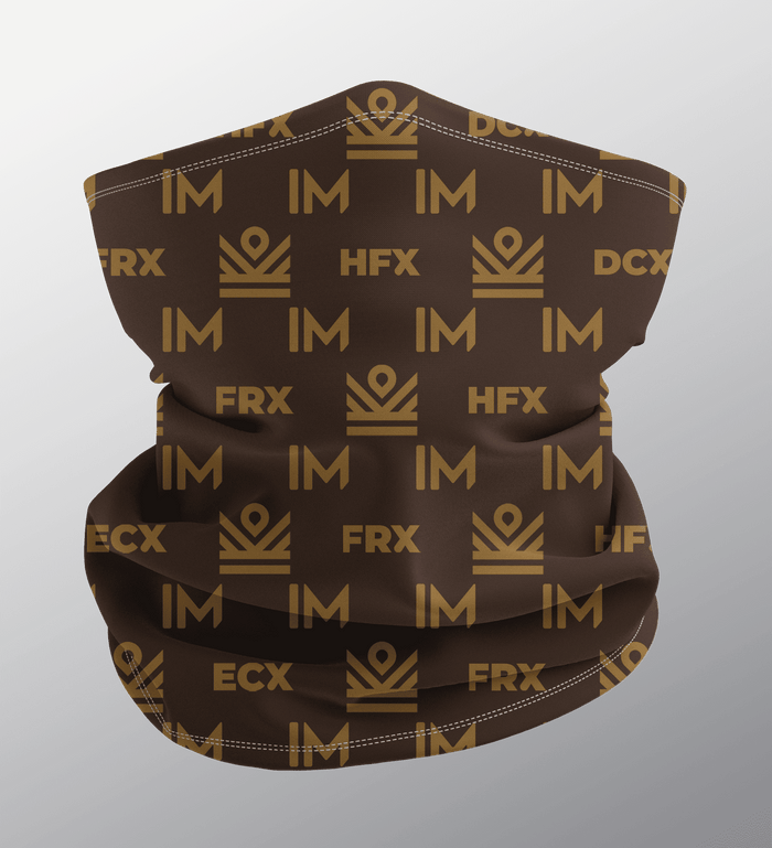 im academy monogram neck gaiter face mask - brown [limited quantities]