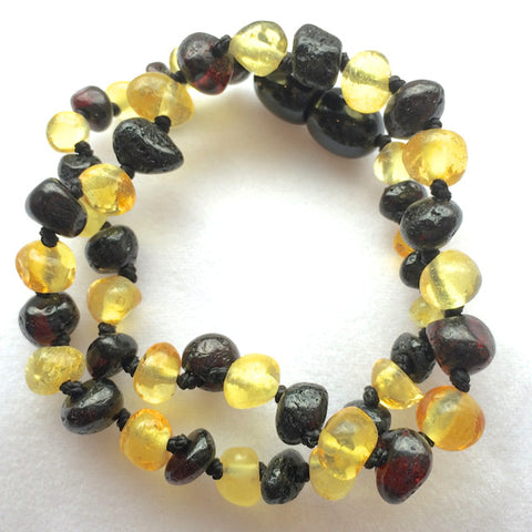 Amber Teething Necklace - Lemon and Chestnut