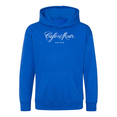 Café del Mar Ibiza White Logo Kid's Royal Blue Hooded Sweatshirt-Café Del Mar Ibiza Store