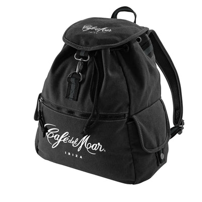 Café Del Mar Ibiza White Bold Logo Vintage Canvas Backpack-Café Del Mar Ibiza Store