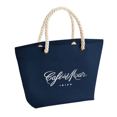 Café Del Mar Ibiza Bold Silver Logo Rope Handle Beach Bag-Café Del Mar Ibiza Store