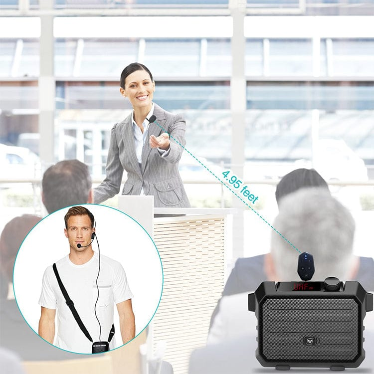 WinBridge UHF Wireless Lavalier Microphone with Lapel Microphone, Headset Mic and Stand Mic
