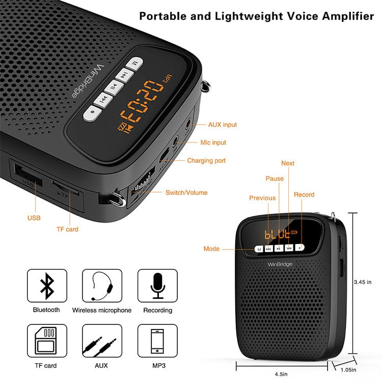 WinBridge S278 portable loudspeaker  voice amplifier  with wireless microphone