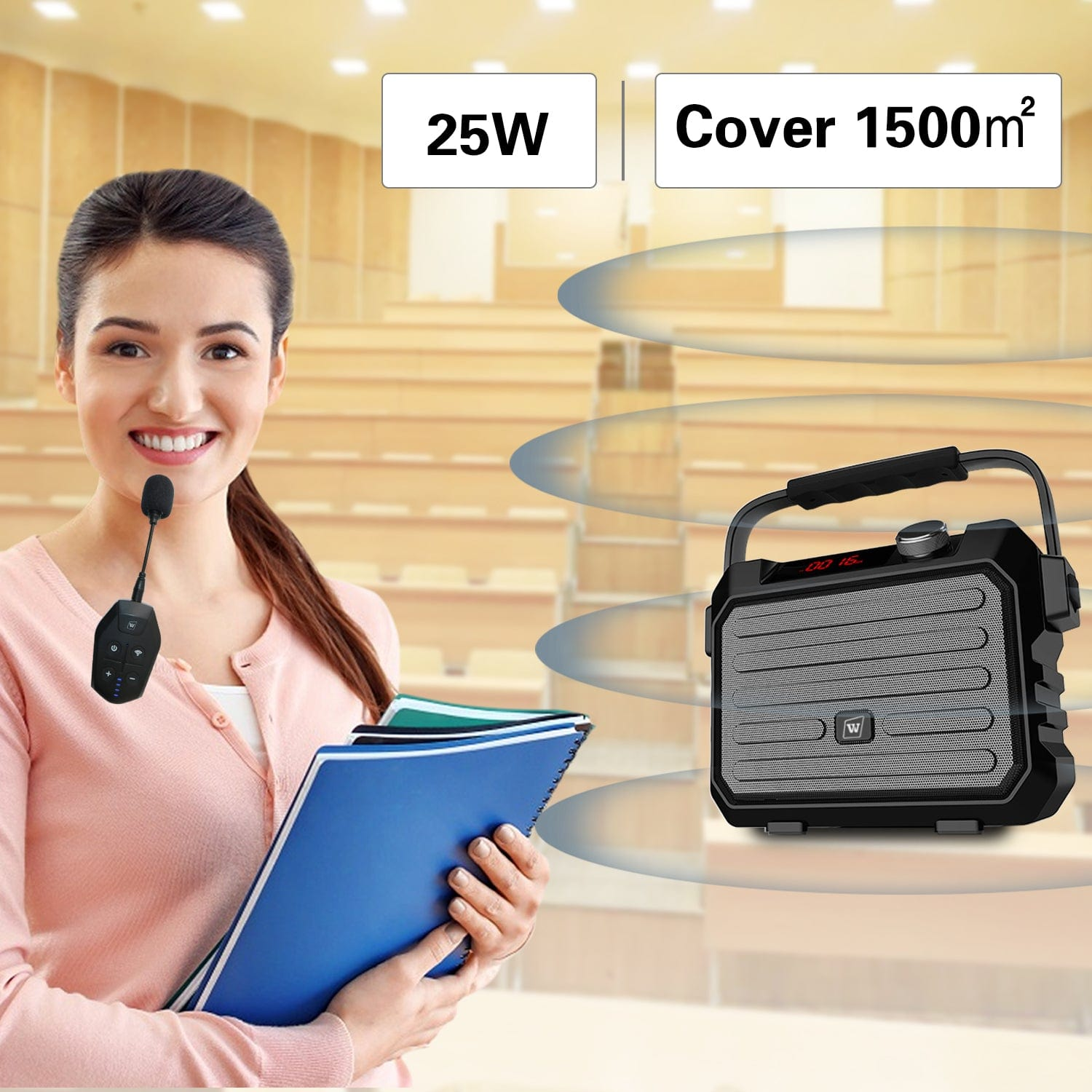 Wireless Portable PA System H5 Plus With Headset Lapel Lavalier Mic Transmitter