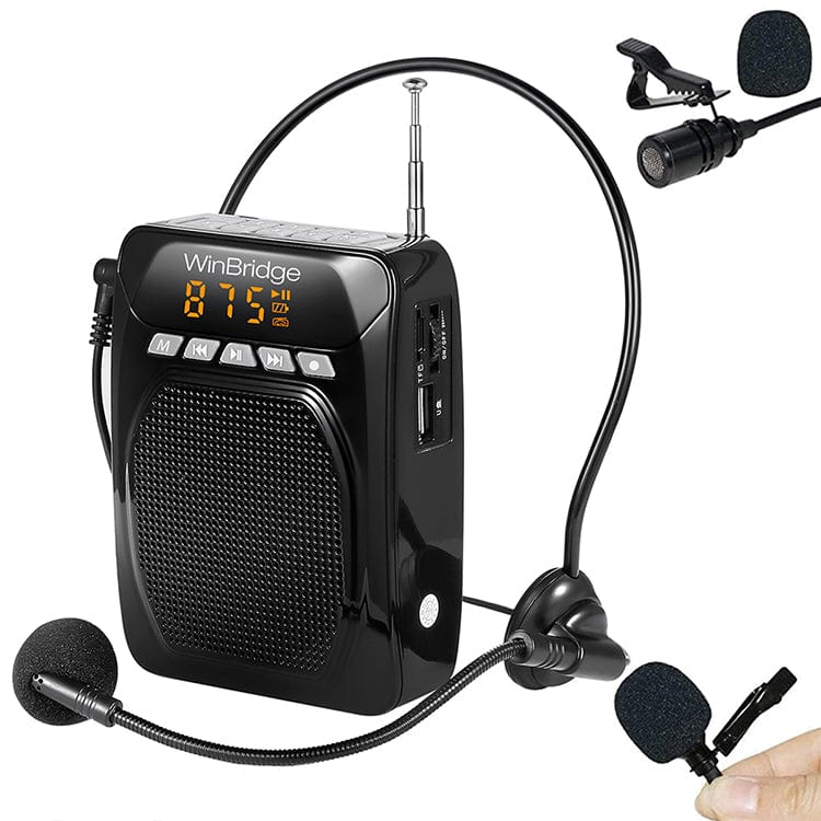 Portable Voice Amplifier Speaker M700 Plus with Lavalier Lapel Microphone Click On and Headset Microphone 15W|1800mAh