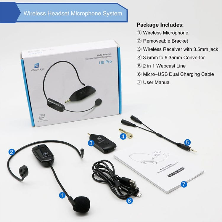 WinBridge Multifunctional Wireless Microphone Headset  U8 Pro