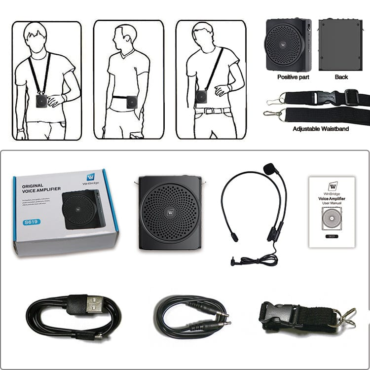 Portable Voice Amplifier S619 With Headset Mic Wired 16W for Teachers