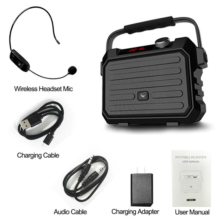 Portable PA System H5  With UHF Headset Mic 30W Free Shipping