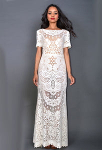 Lacy Pattern Maxi Dress