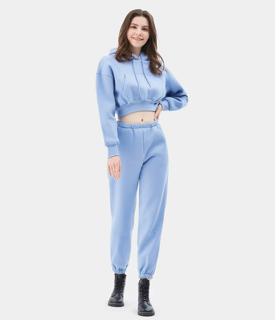 Cropped Sweatshirt and Sweatpants Loungewear Set