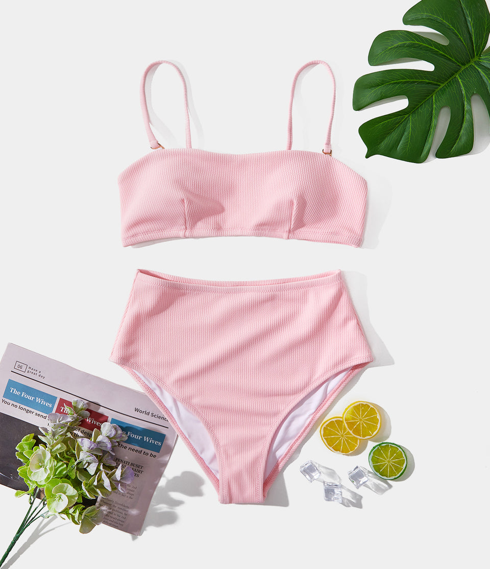 Ribbed-Knit Square Neck Bikini Set