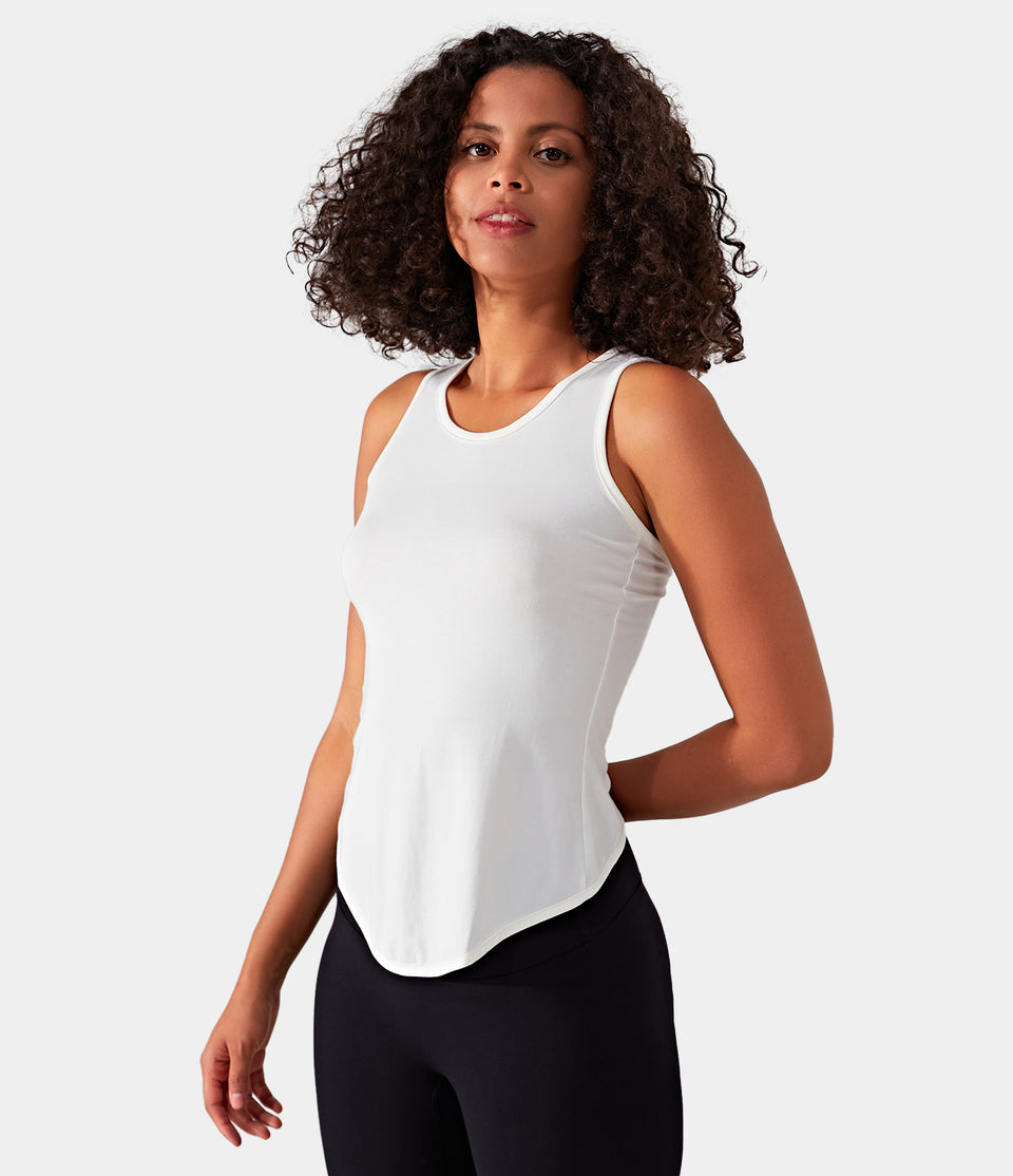 Asymmetric High-Low Crossover Tank Top