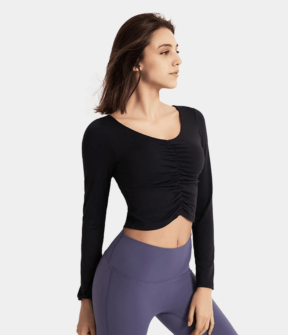 Sweetheart Shirred Fitted Cropped Sports Top