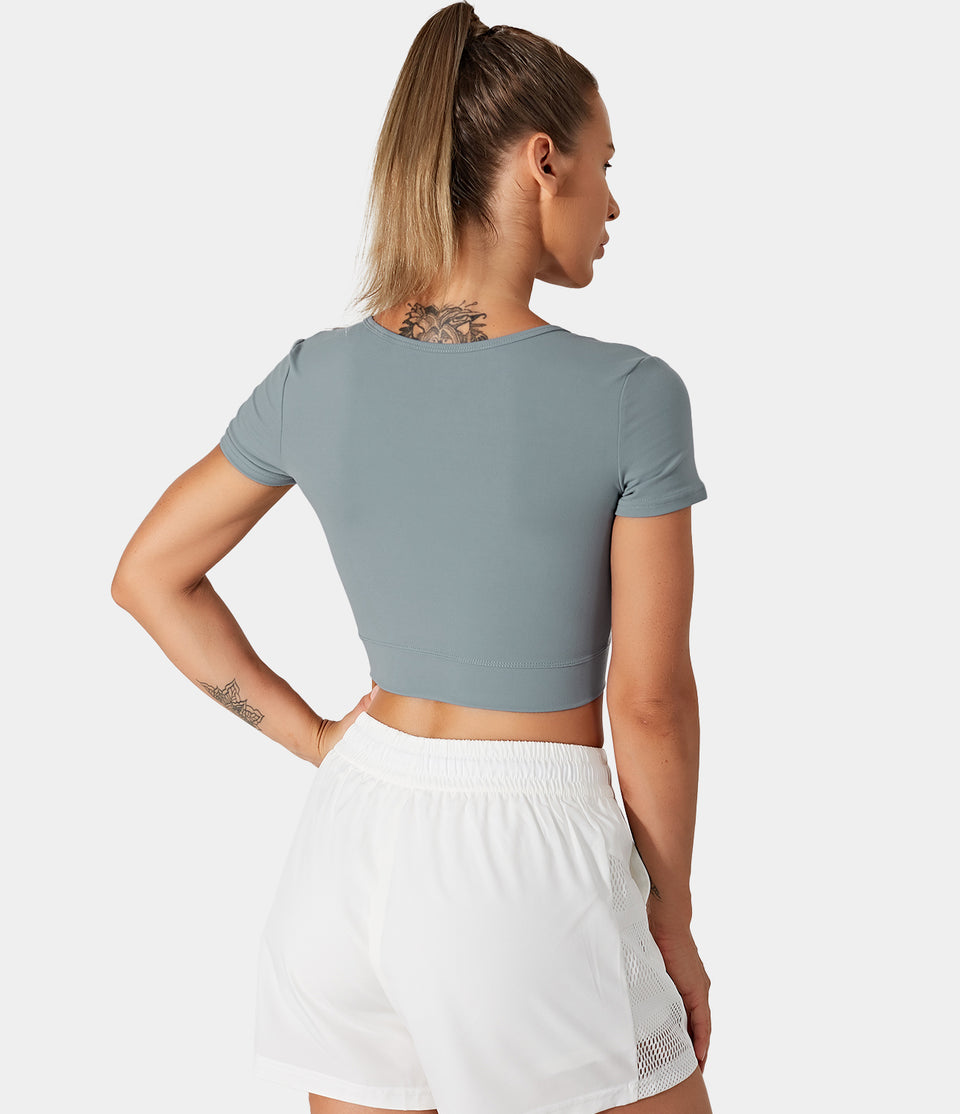 Bloom, Crossover Hem Cropped Sports Top