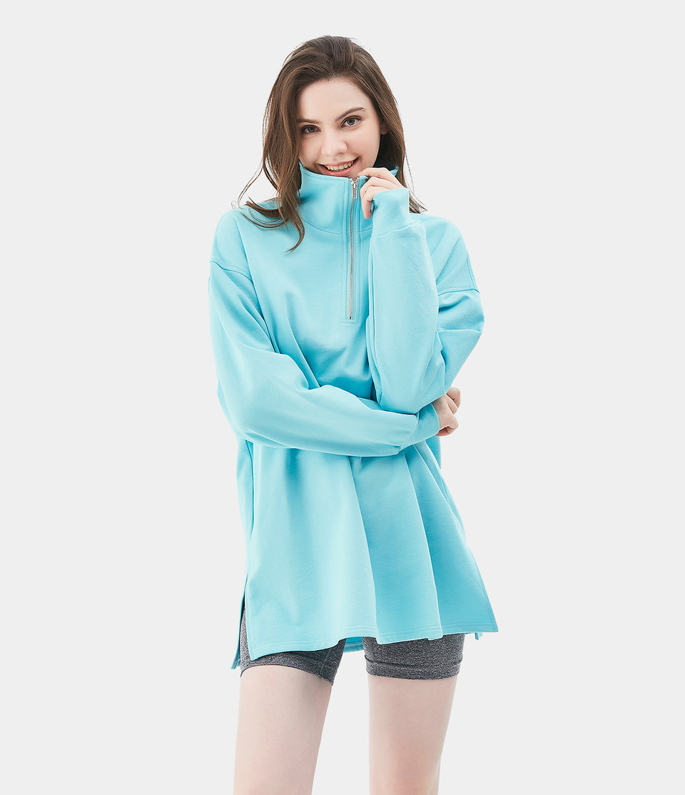 Half Zip Solid- Color Split Hem Sweatshirt