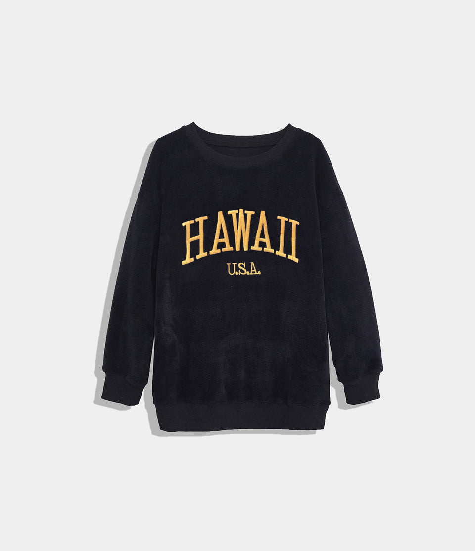 Location Print Fleece Pullover Sweatshirt