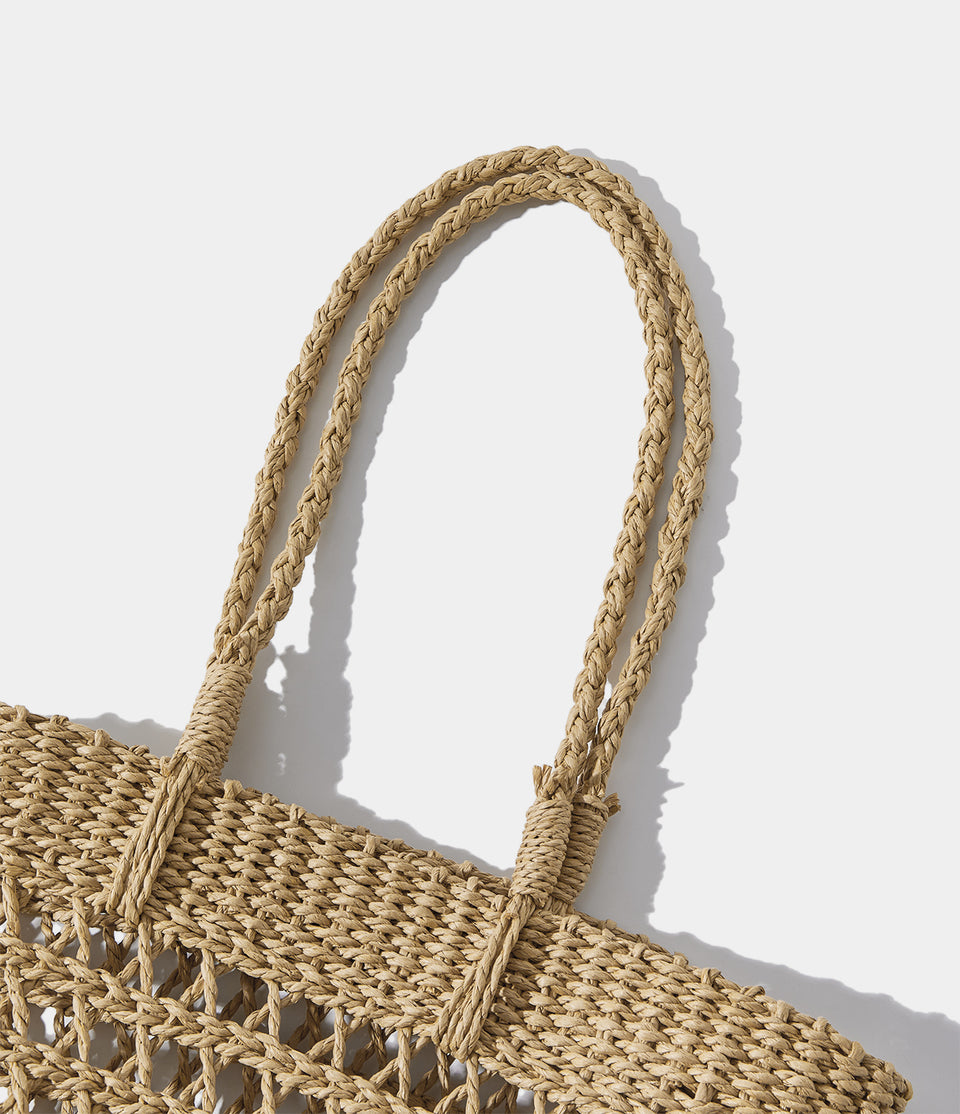 Hollow Hand-Woven Straw Beach Tote Bag