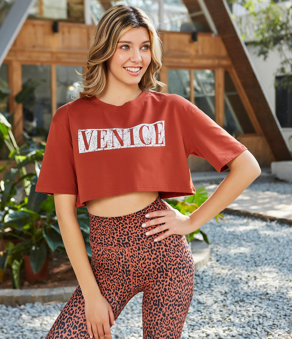 Letter Print Cropped T-Shirt