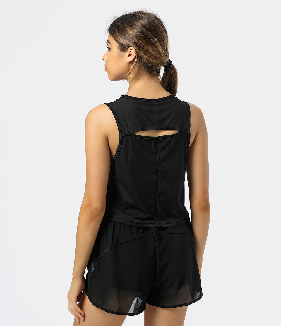 Contrast Mesh Back Cut-Out Tank Top