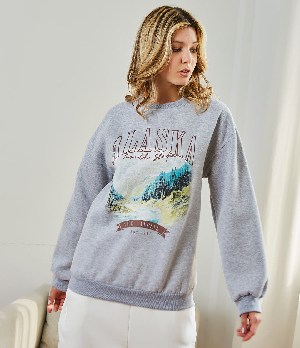 Letter & Graphic Print Pullover Sweatshirt
