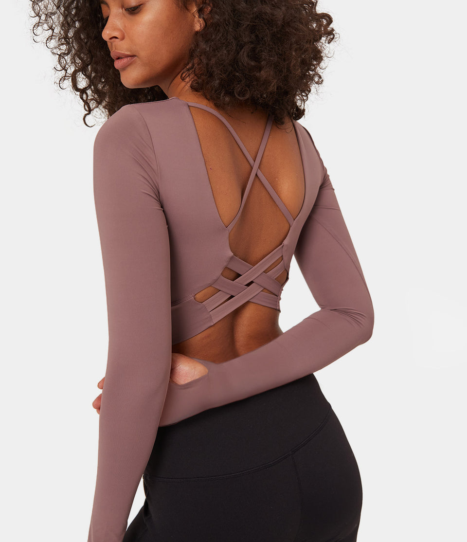 Bloom, Cropped Crisscross Strappy Sports Top