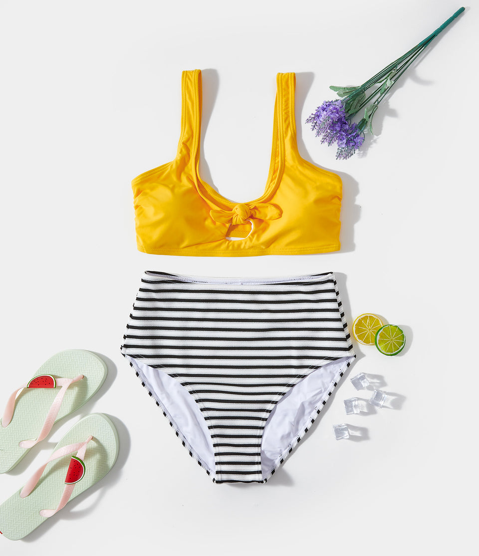 Ribbed-Knit Tie Front Cut-Out Stripe Bikini Set