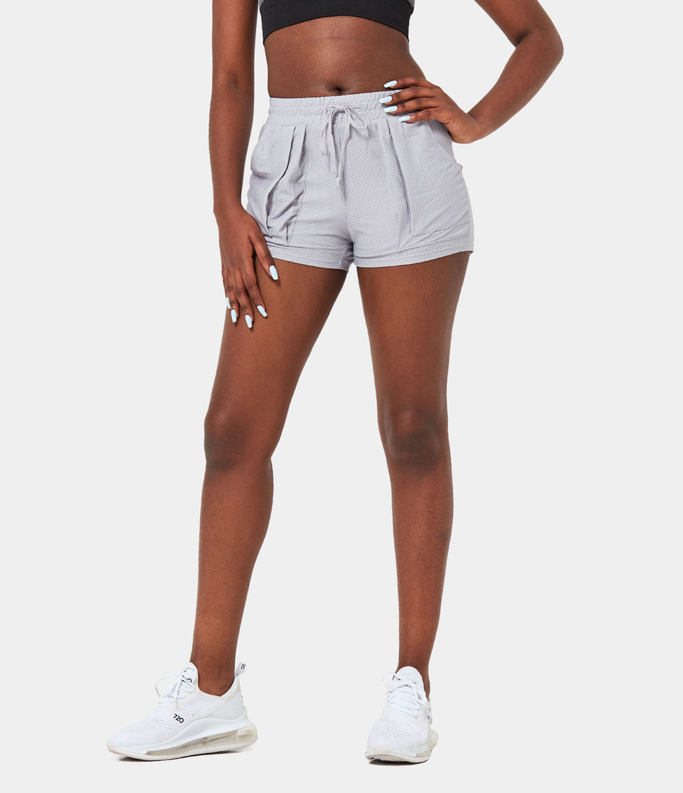 Bloom, Mid Rise Mesh Drawstring Side Pocket Shorts