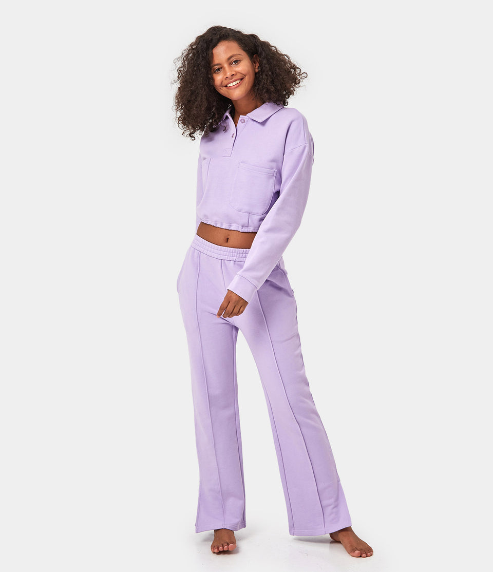 Drawstring Cropped Polo Shirt & Split Hem Sweatpants Loungewear Set