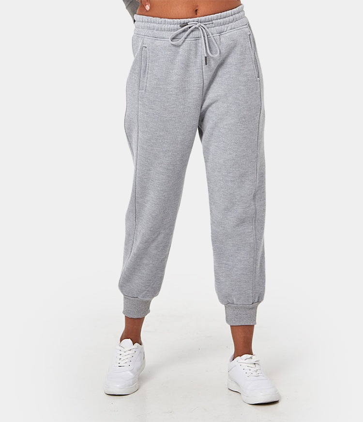 Drawstring Solid-Color Capri Joggers