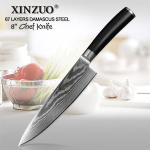 xinzuo 8 inch blade pro chef knife 67 layers vg10 damascus stailess steel german kitchen - German Kitchen Knives