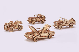 Mechanical Model - 4-Car Set (safari jeep, ATV, cabriolet, and jeep)