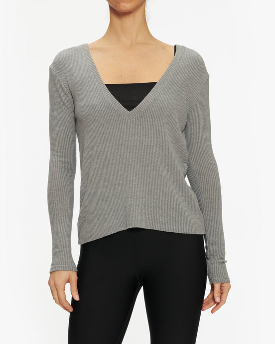 JOAH BROWN DEEP V LONG SLEEVE