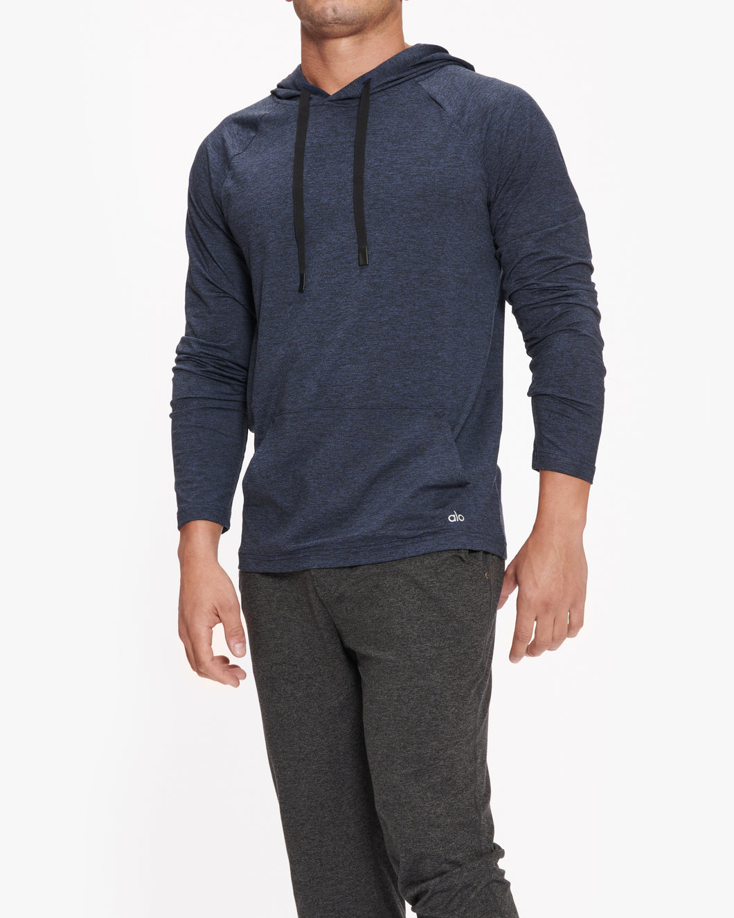 ALO YOGA CONQUER HOODIE RICH NAVY HEATHER