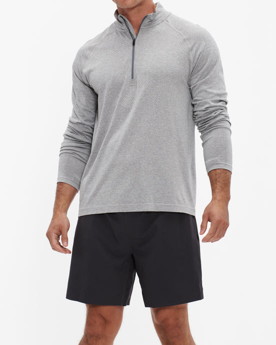 RHONE VERSATILITY SEAMLESS 1/4 ZIP LIGHT GRAY HEATHER
